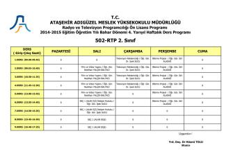 502-RTP 2. Sınıf - Ataşehir Adıgüzel Meslek Yüksekokulu