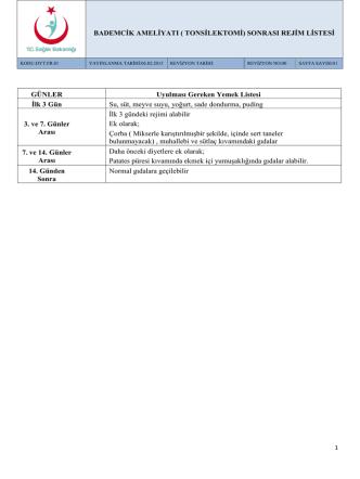 bademcik ameliyatı sonrası rejim listesi