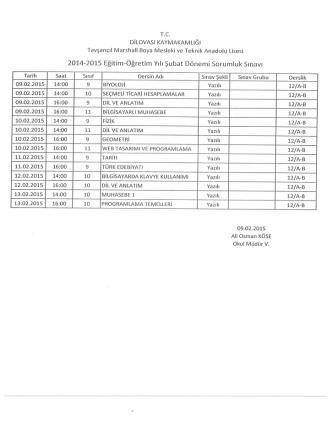 2014-2015 Eğitim-Öğretim Yılı Şubat Dönemi Sorumluk Sınavı