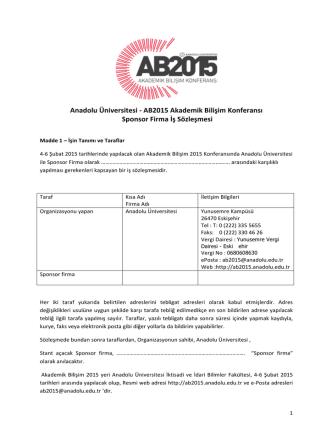 Anadolu Üniversitesi -‐ AB2015 Akademik Bilişim Konferansı