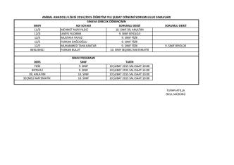 anibal anadolu lisesi 2014/2015 öğretim yılı şubat dönemi