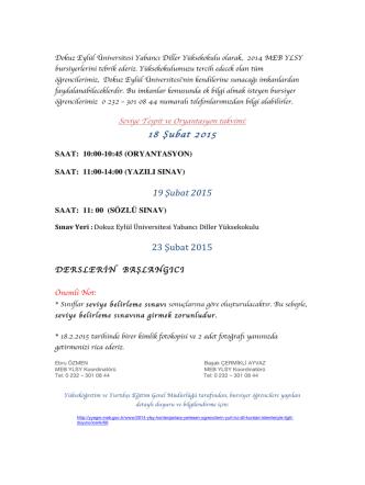 18 Şubat 2015 - Yabancı Diller Yüksekokulu