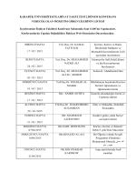 KARABÜK ÜNİVERSİTESİ İLAHİYAT FAKÜLTESİ 2.DÖNEM