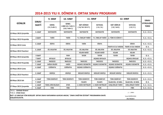 2014-2015 yılı ıı. dönem ıı. ortak sınav programı