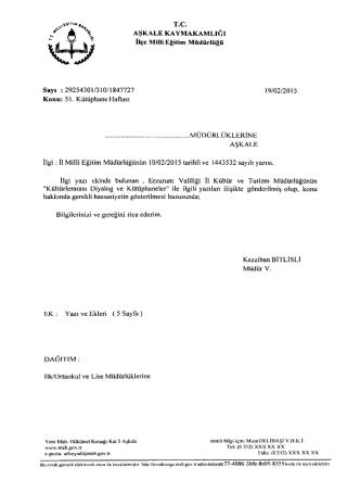 51. Kütüphane Haftası - erzurum - aşkale ilçe millî eğitim müdürlüğü