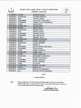 2015 mart ayı aşıraksu idari uzman doktor nöbet listesi