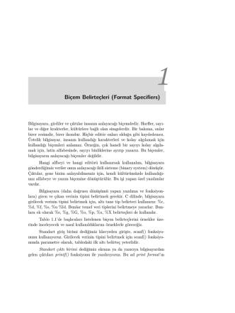 Biçem Belirteçleri (Format Specifiers)