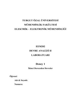 Deney 1 - Turgut Özal Üniversitesi