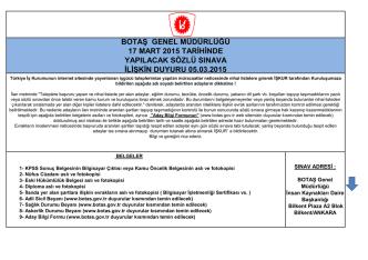 botaş genel müdürlüğü 17 mart 2015 tarihinde yapılacak sözlü