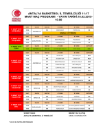 11-17 Mart Maç Programı - Antalya Gençlik ve Spor İl Müdürlüğü