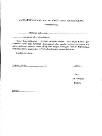 Başvuru Dilekçesi (2.Kura) - Manisa Kamu Hastaneleri Birliği Genel