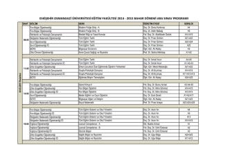 2014-2015 Bahar Dönemi Ara Sınav Programı