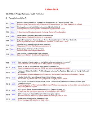2 Nisan 2015 - Türk Toraks Derneği 18. Yıllık Kongresi