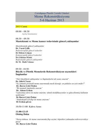 2015 Cerrahpaşa Günleri Programı