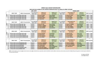 Bor İlçe Nöbet Listesi - Niğde Halk Sağlığı Müdürlüğü