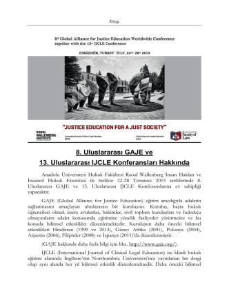 8. Uluslararası GAJE ve 13. Uluslararası IJCLE Konferansları
