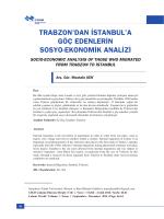 trabzon`dan istanbul`a göç edenlerin sosyo
