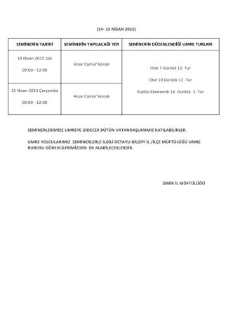 (14- 15 NİSAN 2015) SEMİNERİN TARİHİ