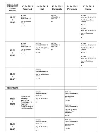 13.04.2015 Pazartesi 14.04.2015 Salı 15.04.2015 Çarşamba 16.04