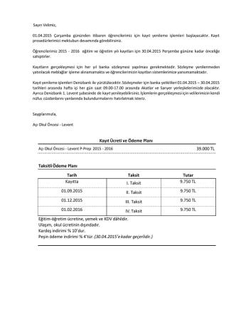 44.800 TL TaksitliÖdeme Planı Tarih Taksit Tutar Kayıtta I