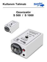 Kullanım Talimatı Ozonizatör S 500 / S 1000