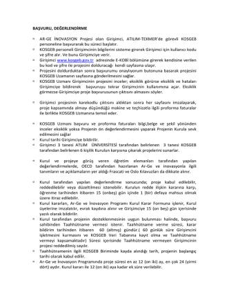 BAŞVURU, DEĞERLENDİRME AR-GE İNOVASYON