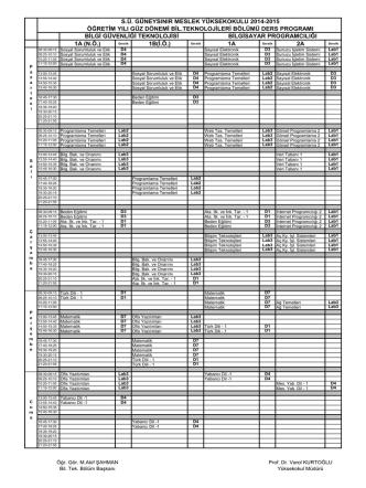 2014 - 2015 Öğretim Yılı Bilgisayar Teknolojileri Bölmü Ders Programı