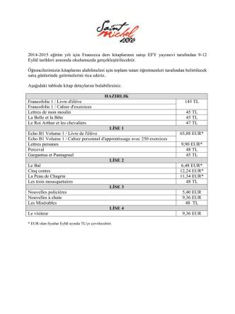 2014-2015 eğitim yılı için Fransızca ders kitaplarının satışı EFY