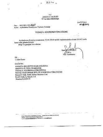 Amasya İli Aydınlatma Komisyonu 30.04.2014 tarihli kararı