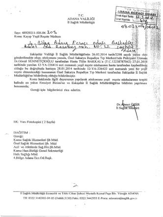 07.03.2014 tarih ve 06012-305 sayılı yazı (kayıp yeşil reçete )