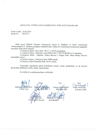 Adana Valiliği Komisyon Kararları