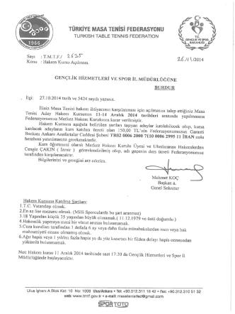 Burdur-Ordu Hakem Kursu İçin Tıklayınız.