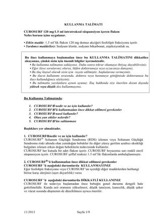 Curosurf 120 mg/1.5 ml İntratrakeal Süspansiyon İçeren Flakon KT