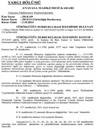 Anayasa Mahkemesinin 2/10/2014 Tarihli ve E: 2014/149, K