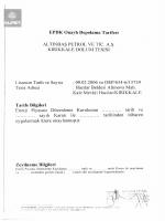 EPDK Onaylı Depolama Tarifesi ALTINBAŞ PETROL VE TİC. AŞ