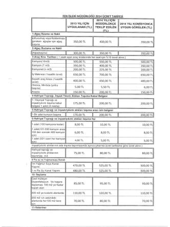 2014 Yılı Fen İşleri Müdürlüğü Hizmetleri Ücret Tarifesi