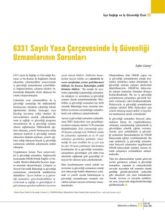 6331 Sayılı Yasa Çerçevesinde İş Güvenliği Uzmanlarının Sorunları