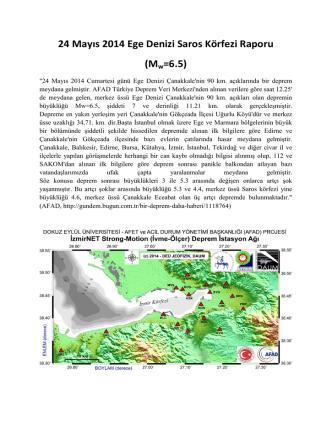 24 Mayıs 2014 Ege Denizi Saros Körfezi Raporu (Mw=6.5)