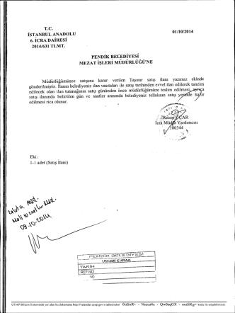 6. İCRA DAİRESİ 2014/631 TLMT. PENDİK BELEDİYESİ