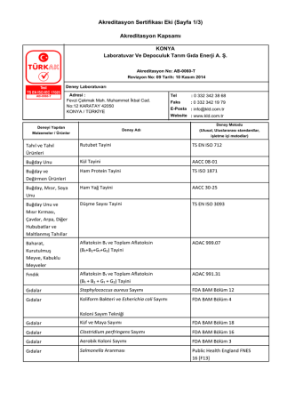 Akreditasyon Sertifikası Eki (Sayfa 1/3) Akreditasyon Kapsamı