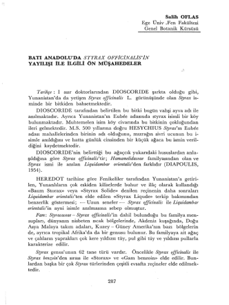 Batı Anadolu da Styrax officinalis in Yayılışı ile İlgili Ön Müşahadeler