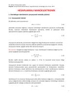 Hesaplamalı nanaoelektronik ders notları Bölüm