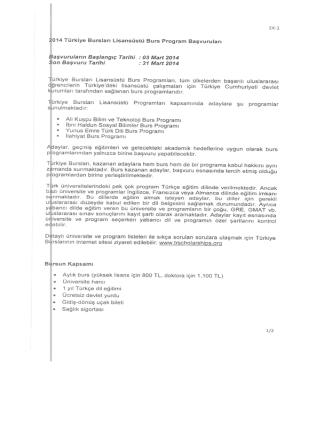 2014 Türkiye Bursları Lisansüstü Burs Program Başvuruları