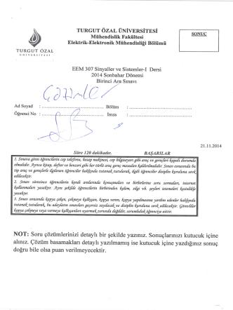 , ~ TURGUT ÖZAL ÜNİVERSİTESİ SONU
