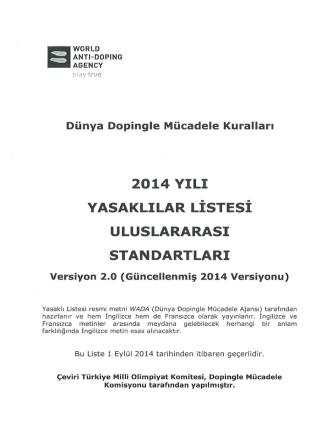 2014 Yılı Yasaklılar Listesi Uluslararası Standartları