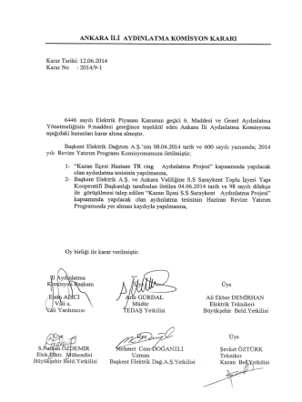 Ankara Valiliği Komisyon Kararları (Haziran 2014)