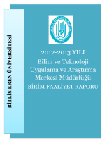 BİRİM FAALİYET RAPORU - Bitlis Eren Üniversitesi
