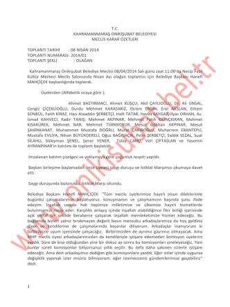 2014 yılı nisan ayı meclis karar özeti