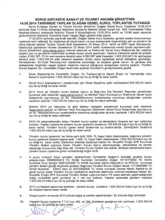 14 Mayıs 2014 Olağan Genel Kurul Toplantı