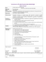 İç Kontrol ve Ön Mali Kontrol Şube Müdürlüğü Görev Tanımı